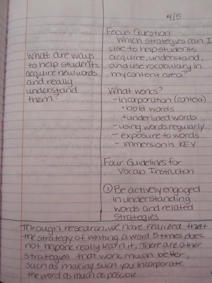 Note Taking Sample  Erin DauererS Portfoliosample Cornell Note